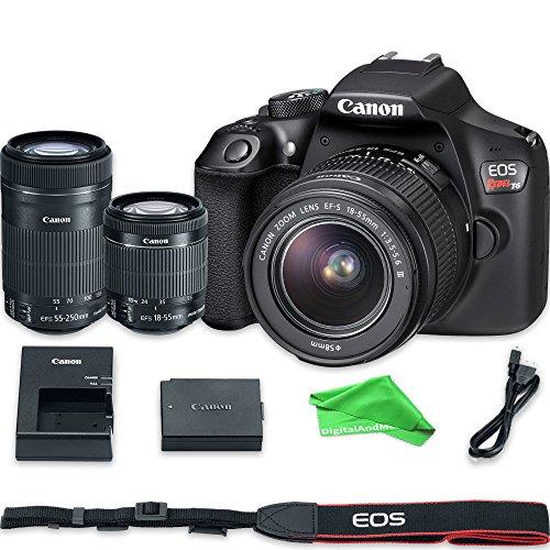 Canon EOS Rebel T6 Digital SLR Camera with 18-55mm EF-S f/3.5-5.6 IS II Lens & EF-S 55-250mm f/4-5.6 IS STM Lens + DigitalAndMore Microfiber Cloth