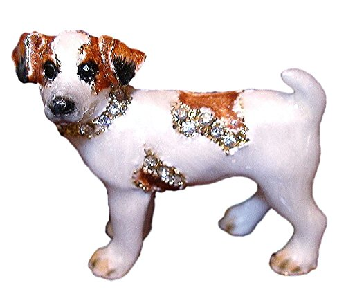 Jack Russell Maltese (Kubla Crafts Bejeweled Jack Russell Puppy DOG Enamel & Austrian Crystal PIN Brooch)