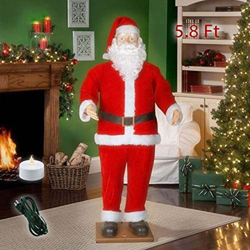 - Holiday Time 5.8ft Dancing Santa Claus Animated - Life Size Singing