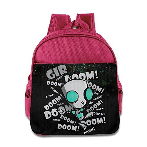HYRONE Invader Zim Gir Cartoon Doom Boys And Girls Schoolbag For 1-6 Years Old Pink