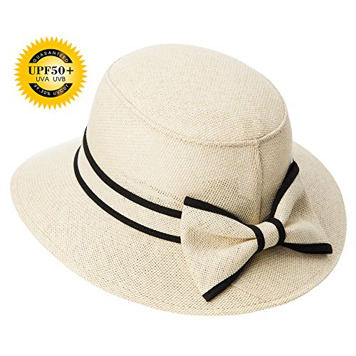 [Siggi Womens UPF50 Vintage Cloche Bucket Bowler Straw Hat Summer Vacation Beige 55-57CM] (Straw Safari Hat)