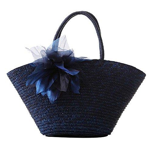 Ladies Handbag Summer Beach Dark Basket Tote Market Bag Straw Shoudler Large Blue FAIRYSAN Flower Shopping UnWdqBZU7