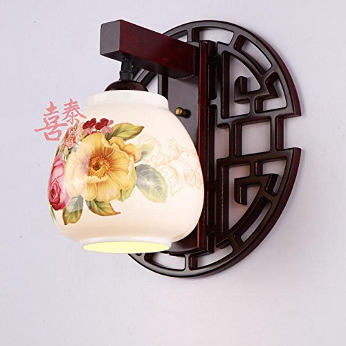 Leihongthebox Wall Sconce Industrial Edison retro style Wall lamp Chinese ceramic Wall Sconce lights solid wood arts carved Wall Sconce lights (Oil Rubbed Bronze) Carved Wood Wall Sconce Light