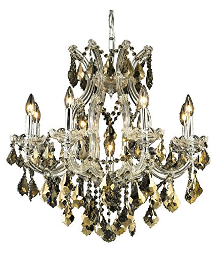 Elegant Lighting 2800D26C-Gt/Ss Swarovski Elements Smoky Golden Teak Crystal Maria Theresa 9-Light, Single-Tier Crystal Chandelier, Finished in Chrome with Smoky Golden Teak Crystals ()