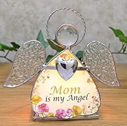 Mother\'s Day - Glass Angel Stained Glass Tealight Candle Holder - Mom is My Angel - Birthday Gifts for Mom - Stained Glass Angel