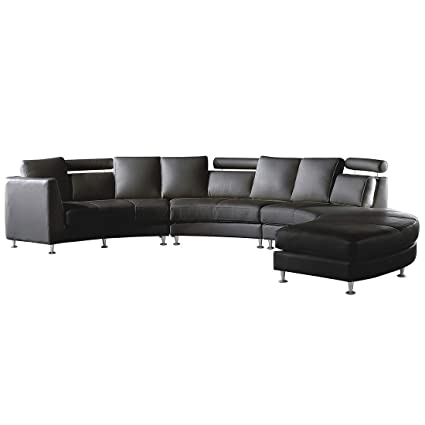 Beliani Modern Curved Sectional Sofa with Chaise and ...