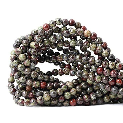 (Qiwan 60PCS 6mm Natural Dragon Blood Jasper Gemstone Gem Round Loose Beads for Jewelry Making 1 Strand 15