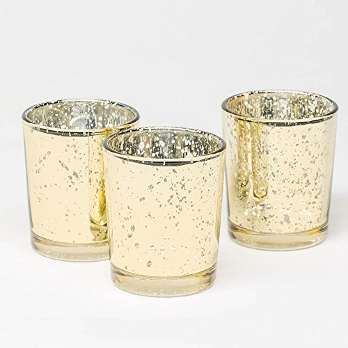 Richland Metallic Gold Mercury Votive Candle Holders Set of - Votive Glass Metallic