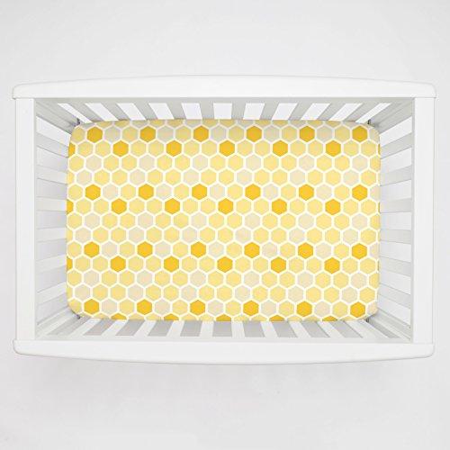 Carousel Designs Yellow Honeycomb Mini Crib Sheet 1-Inch-4-Inch Depth - Organic 100% Cotton Fitted Mini Crib Sheet - Made in The USA ()