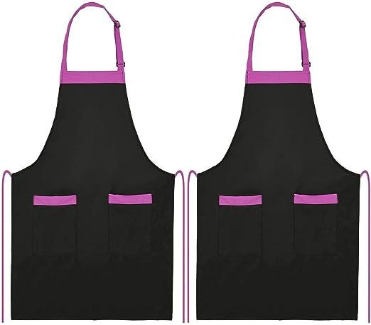 esonmus 2 pcs//lot Adultes Polyester de Cuisine BBQ Restaurant Tablier Cou r/églable Ceinture 2 Poches Cuisson Cuisson Jardinage Homme Women