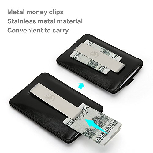 Wallets for Men with Money Clip-Mens Wallets-EGRD Slim Genuine Leather Front Pocket Wallets Credit Card Holder Sleeve-RFID Blocking(Leather Wallet Black) Photo #3