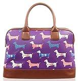 Kukubird Dachshund Print Matte Canvas Satchel Bowling Bag with Kukubird Dust Bag - Purple