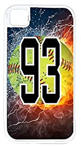 Flaming Softball Sports Fan Player Number 93 White Rubber Decorative iPhone 4/4s Case by lolosakes