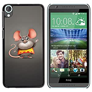 Qstar Arte & diseño plástico duro Fundas Cover Cubre Hard Case Cover para HTC Desire 820 ( Mouse Big Ears Rodent Cartoon Character Cute)