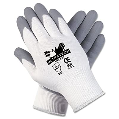 Memphis Ultra Tech Foam Seamless Nylon Knit Gloves, Small, White/Gray - Includes 12 pairs of gloves.