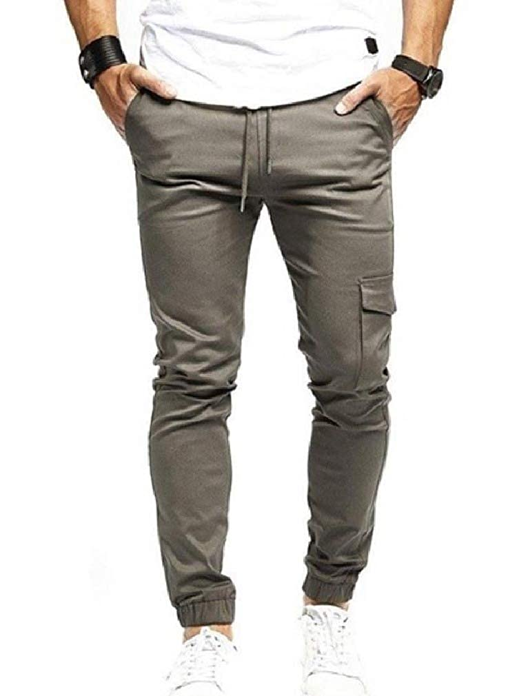 XiaoShop Men Trousers Sports Classic-Fit Elastic Waist Big /& Tall Trousers