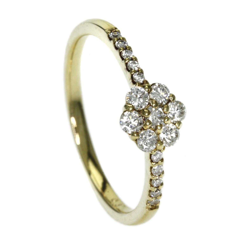 1.7g ダイヤモンド リング指輪 K18イエローゴールド レディース (中古) B077P2F3TC
