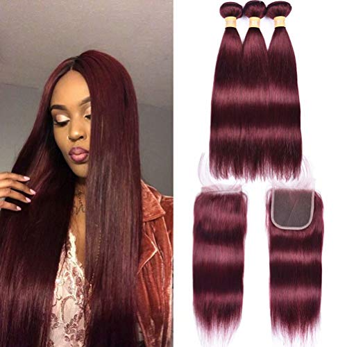 Wome Hair 3 Pieces Peruvian Straight Hair Weft With 4x4 Lace Frontal Closure Popular Burgandy Wine Red 99J Skily Straight Hair Bundles (20 22 24+20,#99J)