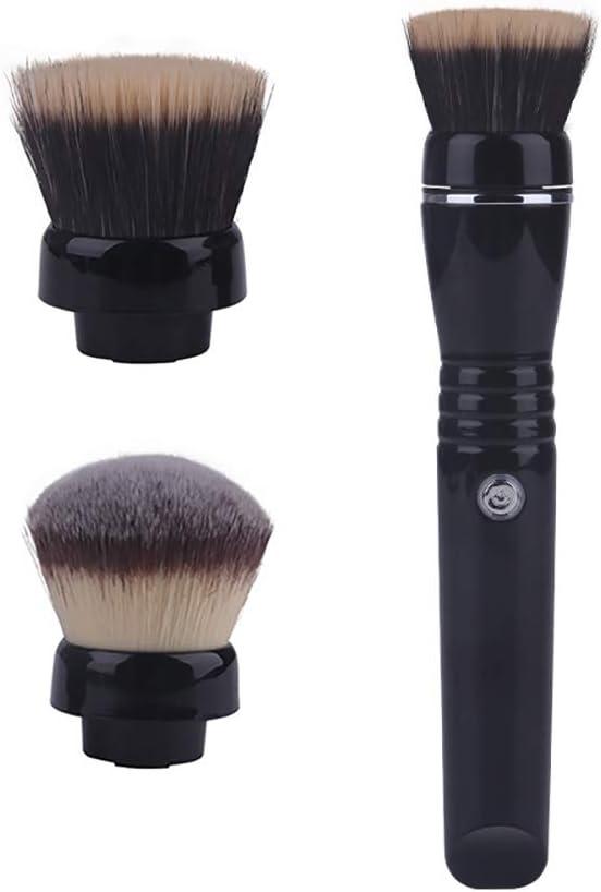 WWWNNUUUX Eléctrica rotativa de Cepillo del Maquillaje, de Carga USB portátil Herramienta de Pincel Cepillos cosméticos para Sombra Cejas Labios Corrector Fundación Mezcla Blush Eyeliner,Negro