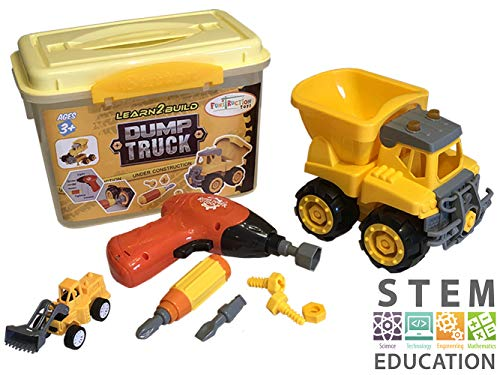 STEM Jr. Take Apart Dump Truck - 27 Piece Construction Vehicle STEM Toy for Boys, Ideal Learning with Vehicles, Building Toys for 4 Year Old Boy Gifts - Sturdy Carry Case, Toy Drill, Bonus Truck Toy!