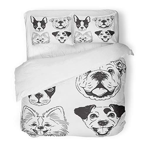 Emvency Bedding Duvet Cover Set King Size (1 Duvet Cover + 2 Pillowcase) Dog's Faces Boston Terrier English Bulldog Toy Pomeranian Jack Russell Black Hotel Quality Wrinkle