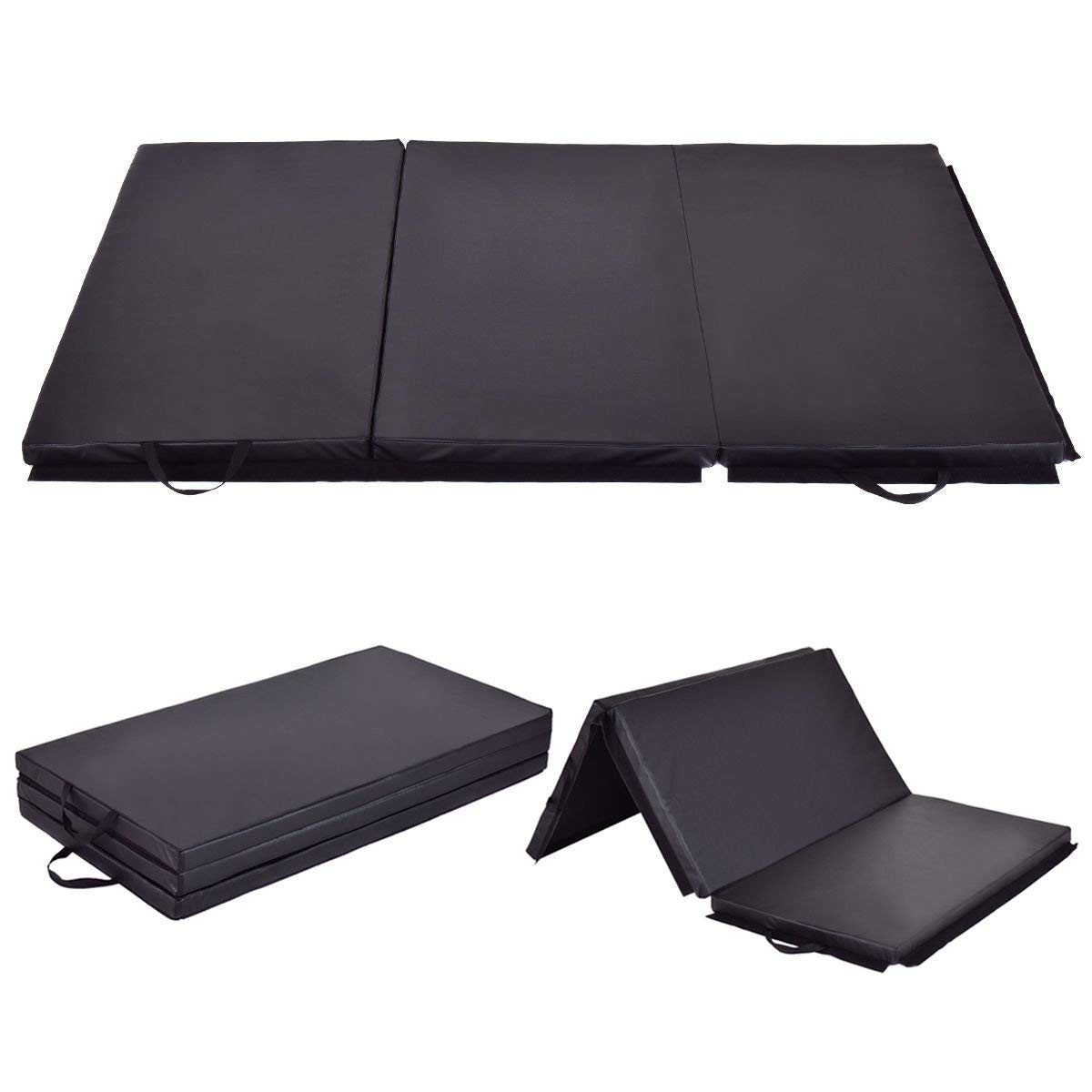 Giantex 6' x 4' Tri-Fold Gymnastics Mat Thick Folding Panel for Gym Fitness Exercise (Black) by Giantex (Image #1)