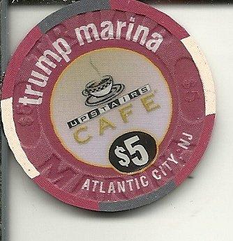 - $5 trump marina upstairs cafe obsolete casino chip atlantic city new jersey