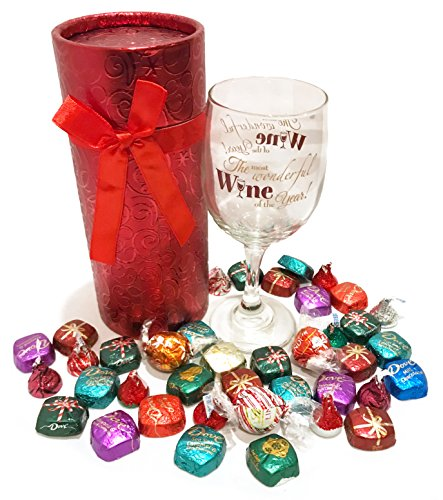 Christmas Gifts! Wine Christmas Gift - Christmas Wine Gift - WITH Premium Chocolate Treats - Christmas Gift For Adults! (Stemmed Wine Glass with Chocolates - Most Wonderful Wine)