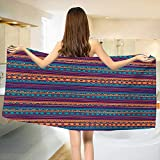 Chaneyhouse Tribal,Bath Towel,Striped Retro Aztec Pattern with Rich Mexican Ethnic Color Folkloric Print,Customized Bath Towels,Teal Plum and Orange Size: W 19.5'' x L 39.5''