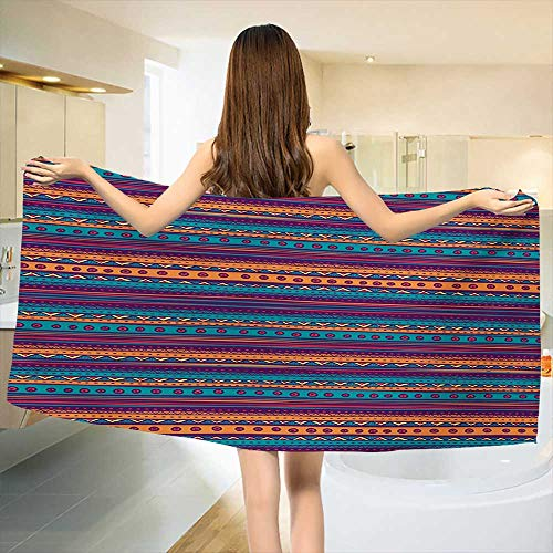 Chaneyhouse Tribal,Bath Towel,Striped Retro Aztec Pattern with Rich Mexican Ethnic Color Folkloric Print,Customized Bath Towels,Teal Plum and Orange Size: W 19.5'' x L 39.5'' by Chaneyhouse