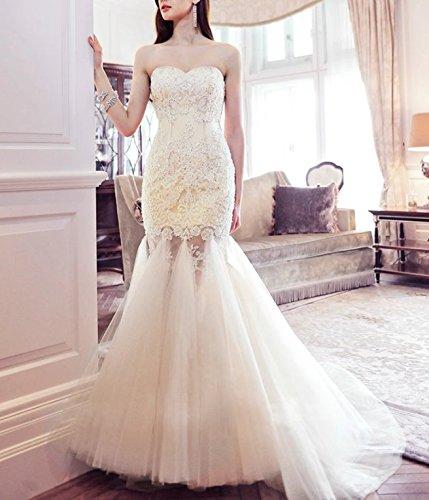 Elliot Claire Londres Trompeta larga de color marfil para vestidos de novia