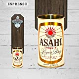 Wall Mounted Bottle Opener with Vintage Asahi Japan Beer Can Cap Catcher