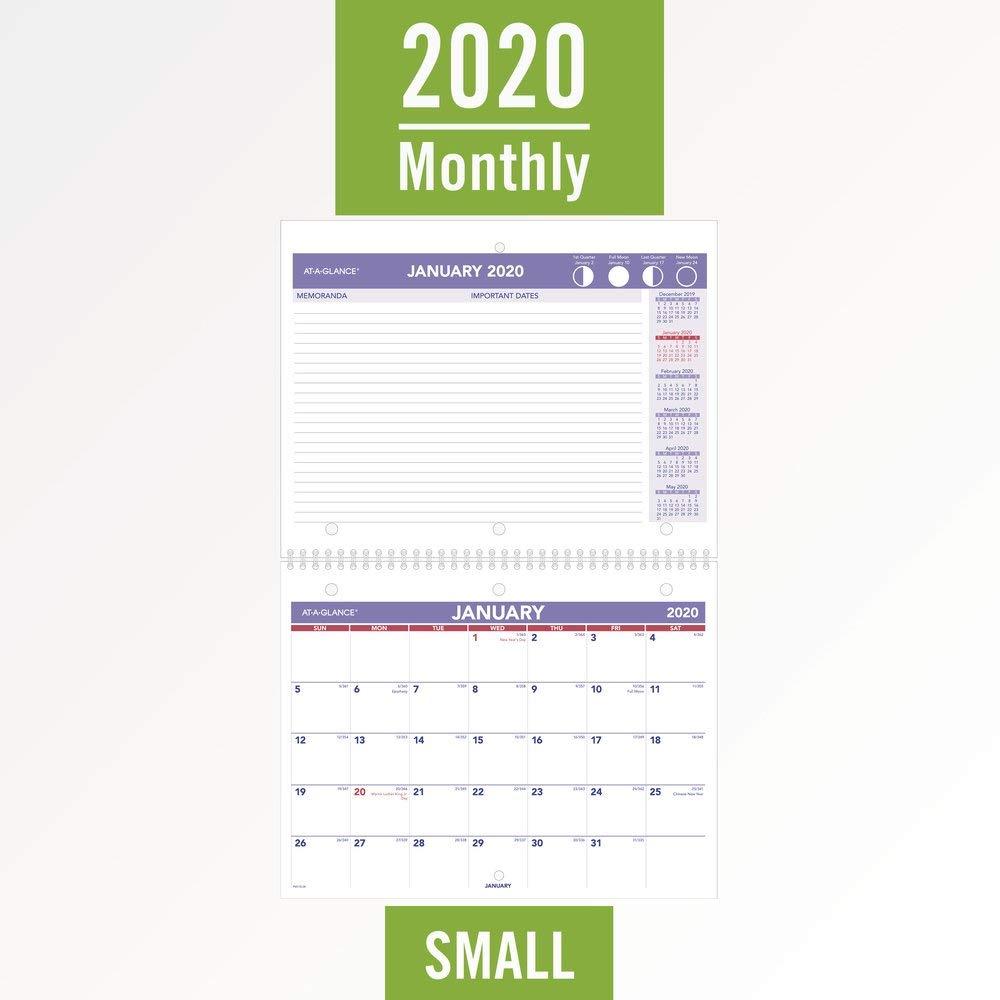 Wirebound Desk Pad AT-A-GLANCE 2020 Desk Calendar 8-1//2 x 11 PM17028 Small