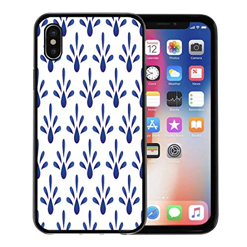 Emvency Phone Case for Apple iPhone Xs Case/iPhone X Case,Abstract White Talavera Blue Floral Ceramic Pattern Cut Porcelain Soft Rubber Border Decorative, Black