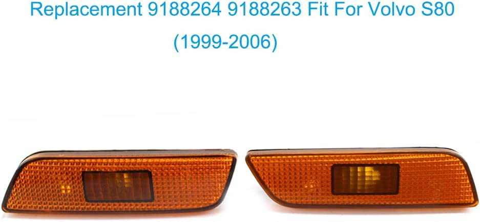 Bumper Light Lens and Reflectors Replacement 9188264 9188263 Fit For Volvo S80 1999-2006 ,2 Pack