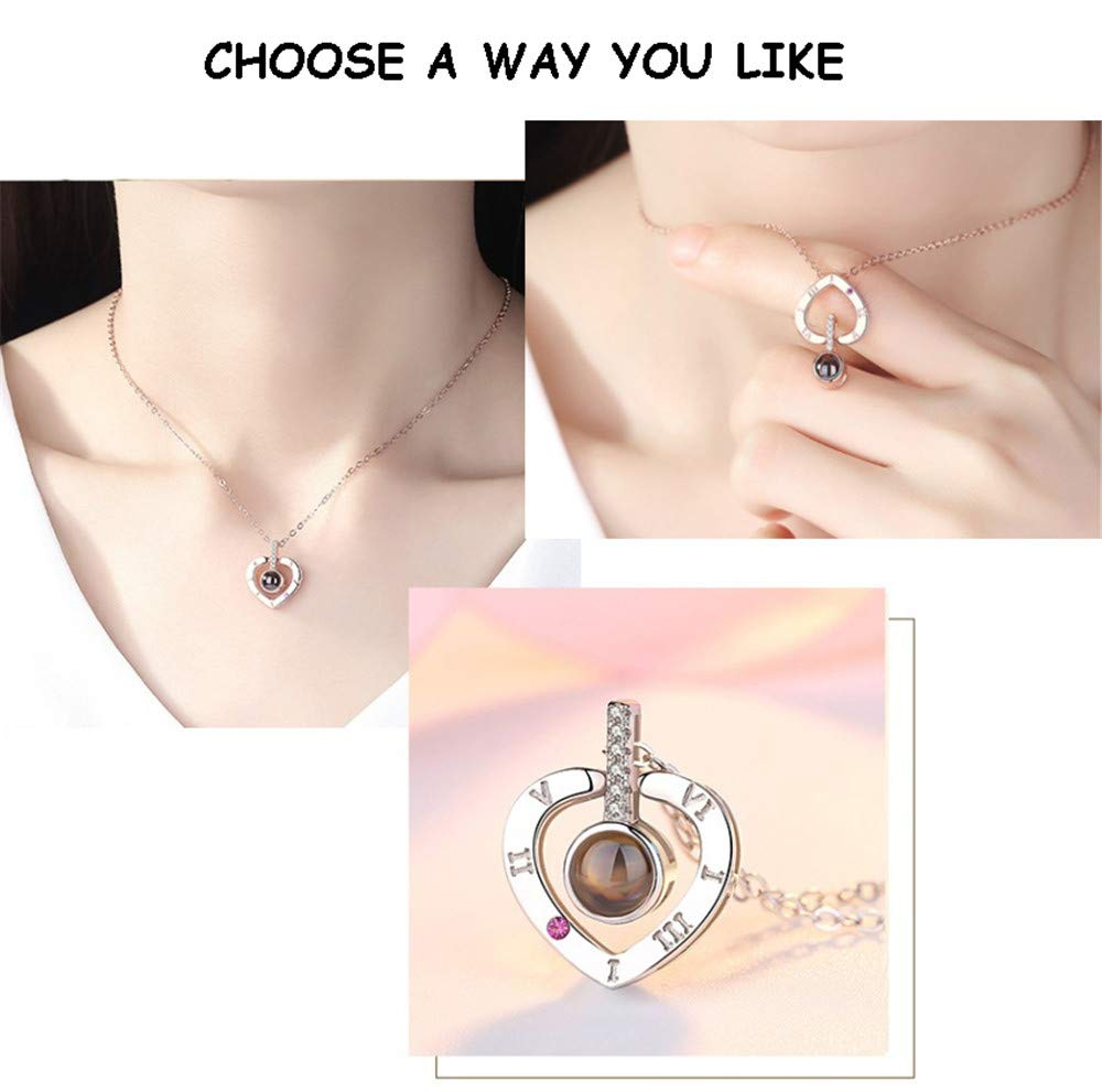 100 Languages I Love You Heart Necklace Loving Memory Collarbone Fashion Jewelry Valentine\'s Day Anniversary for Lovers Couples Women Girls Family