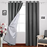 Deconovo Grommet Top Room Darkening Thermal Insulated Blackout Curtains with Backside Silver for Kid's Bedroom, 52x84 Inch, Dark Grey, 1 Pair