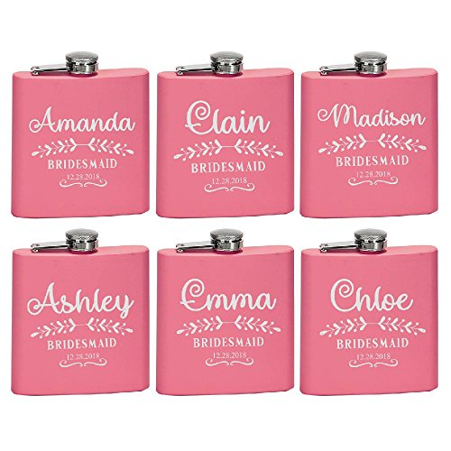 Amazing Items Set of 6, Set of 3, Single - Personalized Hip Flasks, Bridesmaid Gifts, Customized Maid Of Honor Flasks, Wedding Favors Design 3, Set Of 6 ()