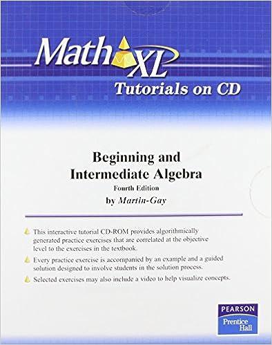 MathXL Tutorials on CD for Beginning &Intermediate Algebra (access ...