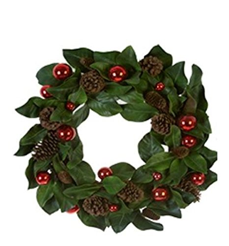 American Best Christmas Holiday Quality Magnolia Leaf, Pinecone, and Red Ball Wreath (28 in)