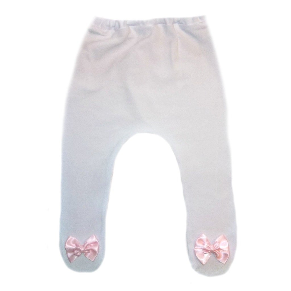 Jacqui's Baby Girls' White Tights with Pink Double Bows 5 Sizes