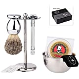 Premium Luxury Shaving Gift Set with ShaveMaxx Safety Razor, Bowl, Shaving Soap, 100% Badger Brush, Razor and Brush Stand, Great Gift Idea for Father Husband or Boyfriend, Beautiful Packed In a Well Presented Gift/Travel Box