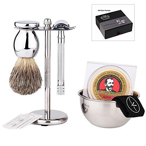 Premium Luxury Shaving Gift Set with ShaveMaxx Safety Razor, Bowl, Shaving