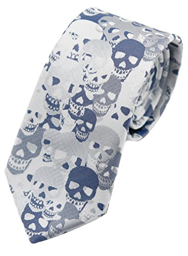 - MENDENG Blue Brown Skull Crossbones Necktie Skeleton Halloween Funny Party Tie