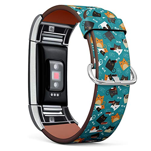 - Replacement Leather Strap Printing Wristbands Compatible with Fitbit Charge 2 - Pattern of Cats and Fishbone in Teal Background