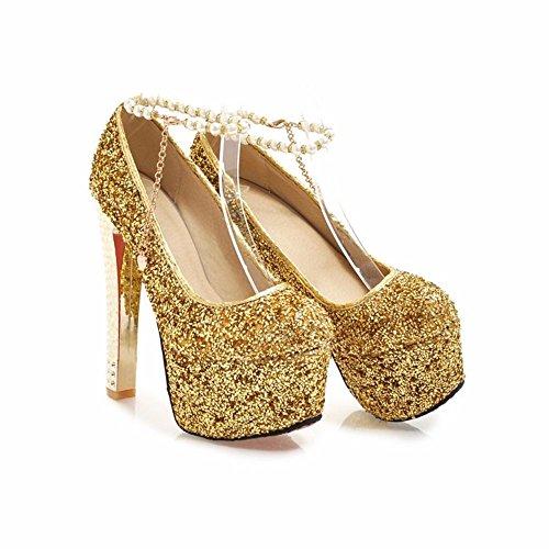 Eu35 15Cm De Étanches De Catwalk La Plate Golden Robe D'Haut Boucle Chaussures Pailleté Forme wnTCq6f