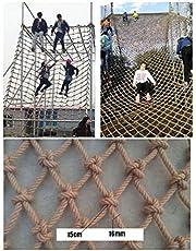 WWWANG Escalada de la Red de cáñamo Cuerda, trae la Carga máxima for el Parque Infantil, Natural de Yute Materiales, 16mm / 15cm, tamaños múltiples