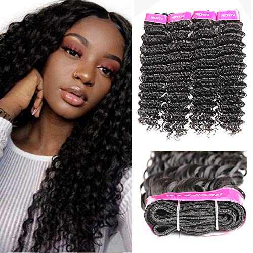 Brazilian Hair Deep Wave Bundles 100% Unprocessed Virgin Brazilian Human Hair Bundles Deep Wave Hair Extensions Natural Color (22 24 26 28)