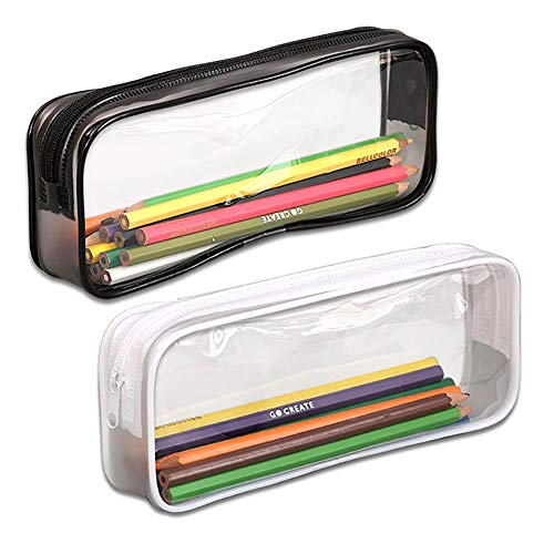 Hooleep Pen Case, Pack of 2 Big Capacity Clear Pencil Bag Makeup Pouch Students Stationery with Zipper, Black and (Clear Pencil Case)