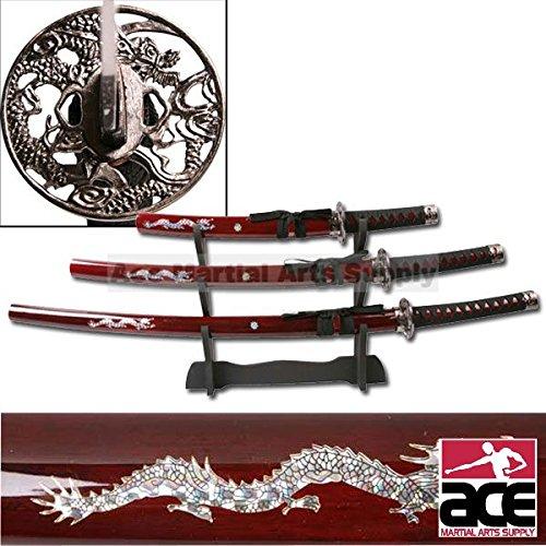 Deluxe Red Dragon Katana Samurai Sword 3pc Set w/ stand